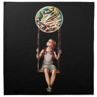 Chica joven caprichosa que balancea en orbe de la servilleta imprimida