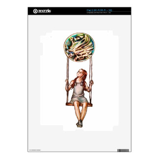 Chica joven caprichosa que balancea en orbe de la skins para eliPad 2