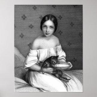 Chica joven con el gatito y el cuenco de leche poster