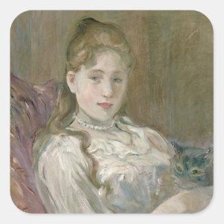 Chica joven con el gato, 1892 pegatina cuadrada