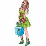 Chica joven con el regalo esculturas fotográficas