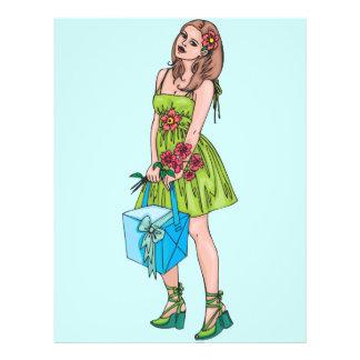 """Chica joven con el regalo folleto 8.5"""" x 11"""""""