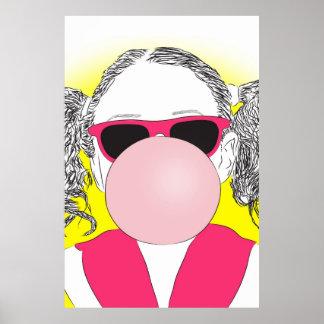 chica joven con una burbuja póster