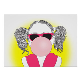 chica joven con una burbuja posters