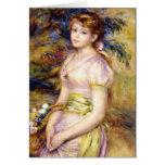 Chica joven con una cesta de flores por Renoir Felicitaciones
