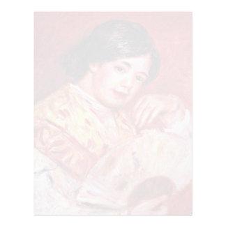 Chica joven con una fan de Pierre-Auguste Renoir Membrete Personalizado
