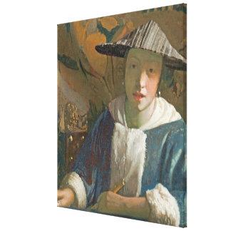 Chica joven con una flauta, c.1665-70 impresión en lienzo estirada
