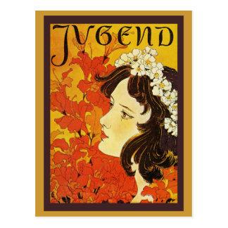 Chica joven de Jugend con la guirnalda de la flor Postal