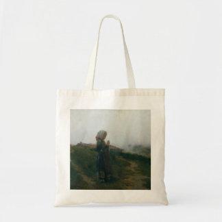 Chica joven de la pintura al óleo que hace punto bolsa