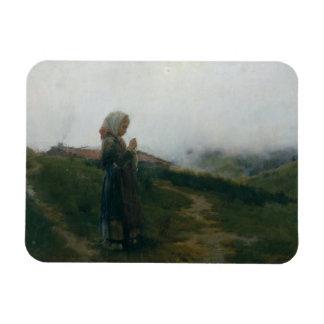 Chica joven de la pintura al óleo que hace punto imán de vinilo