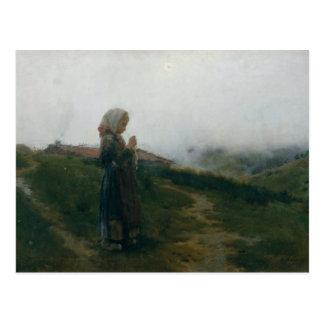 Chica joven de la pintura al óleo que hace punto postal