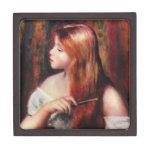 Chica joven de Renoir que peina su caja de regalo  Cajas De Recuerdo De Calidad