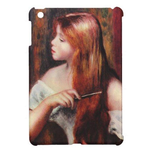 Chica joven de Renoir que peina su caja del iPad d