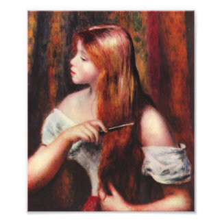 Chica joven de Renoir que peina su impresión del p Fotografías