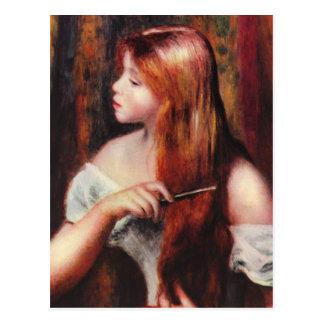 Chica joven de Renoir que peina su postal del pelo