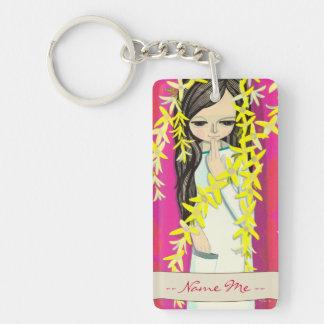 Chica joven del kawaii de la cortina de la flor de llavero rectangular acrílico a doble cara