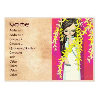 Chica joven del kawaii de la cortina de la flor de tarjetas de visita grandes
