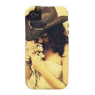 Chica joven del país con las margaritas carcasa vibe iPhone 4