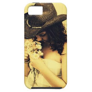 Chica joven del país con las margaritas funda para iPhone SE/5/5s