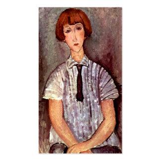 Chica joven del retrato de Modigliani en blusa Tarjetas De Visita