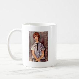 Chica joven del retrato de Modigliani en blusa Taza De Café