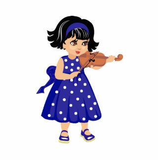 chica joven dress.png azul del jugador del violín escultura fotografica