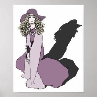 Chica joven en púrpura póster
