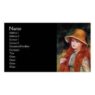 Chica joven en un gorra de paja por Renoir Tarjetas De Visita