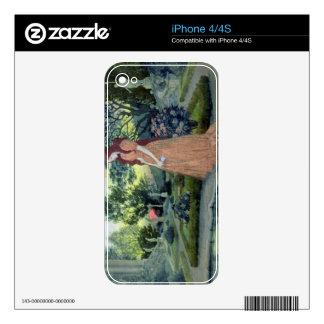 Chica joven en un jardín (w/c) skins para iPhone 4S