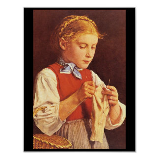 Chica joven Knitting',_Portraits Póster