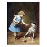 Chica joven que alimenta un perro de Carl Reichert Postal