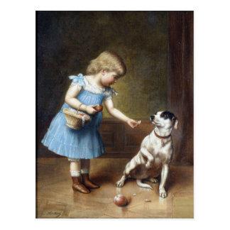 Chica joven que alimenta un perro de Carl Reichert Postales