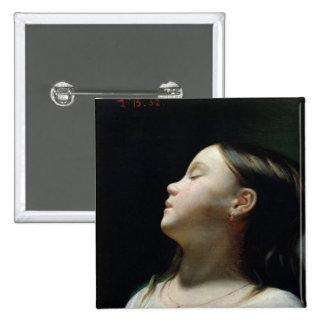 Chica joven que duerme, 1852 pin cuadrada 5 cm