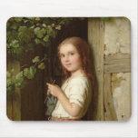 Chica joven que se coloca en una entrada que hace  tapete de ratón