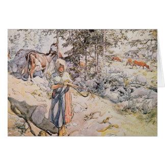 Chica joven que teje, 1905 tarjeta de felicitación