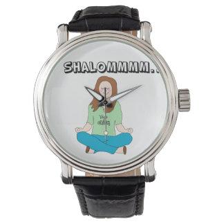 Chica judío divertido de la yoga reloj de mano
