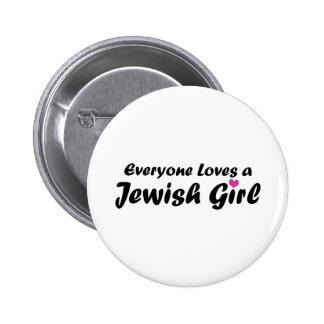 Chica judío pin redondo 5 cm