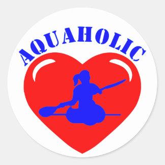 Chica Kayaking del amor Pegatina Redonda