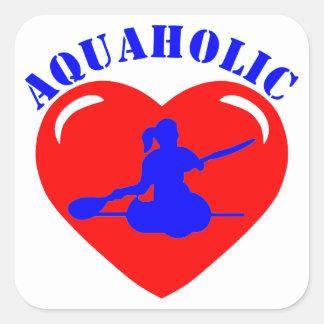 Chica Kayaking del amor Calcomania Cuadradas
