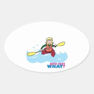 Chica Kayaking - luz/Blonde Pegatina De Ovaladas
