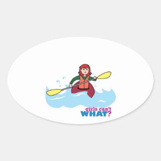 Chica Kayaking - luz/rojo Calcomanía Óval Personalizadas