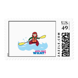 Chica Kayaking - luz/rojo Timbres Postales