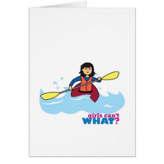Chica Kayaking - medio Tarjeta De Felicitación