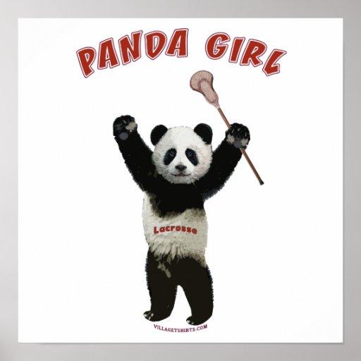 Chica LaCrosse de la panda Póster