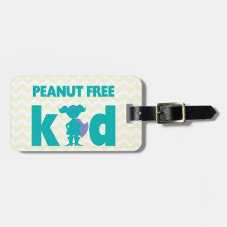 Chica libre del super héroe del niño del cacahuete etiquetas para maletas