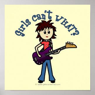 Chica ligero de la guitarra baja posters