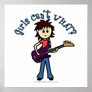 Chica ligero de la guitarra baja póster