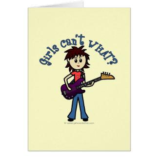 Chica ligero de la guitarra baja tarjeta de felicitación