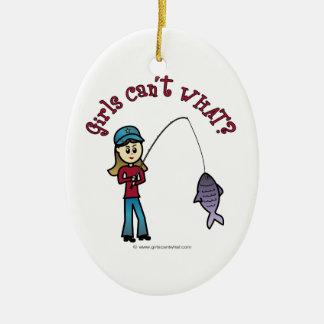 Chica ligero de la pesca adorno ovalado de cerámica