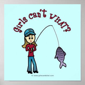 Chica ligero de la pesca impresiones